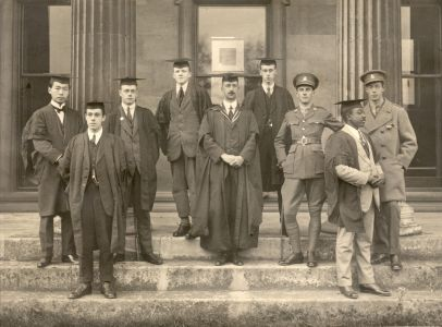 Downing College matriculation photograph, 1917 (courtesy of the family of Frank Furniss, 2nd left).