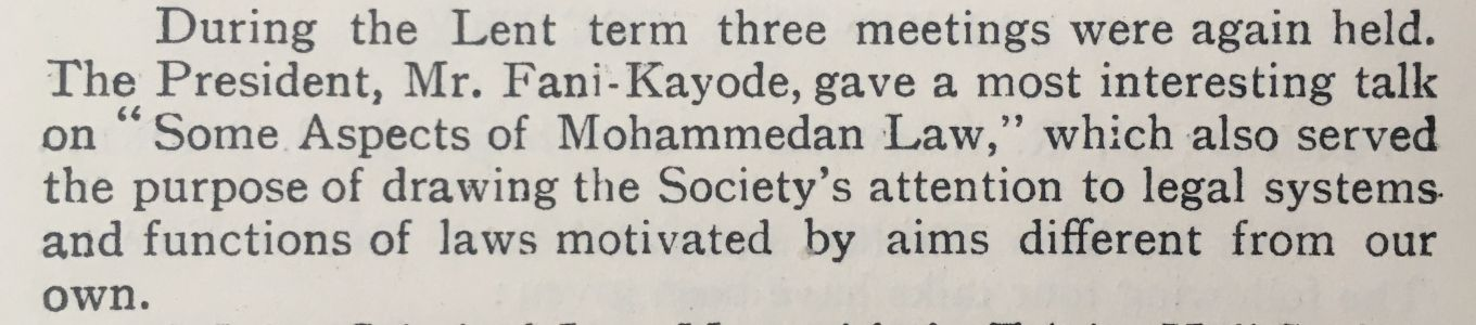 Griffin extract re a talk on 'Mohammedan Law' by Remi Fani-Kayode (1943)