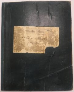 Front cover of the first Minute Book of the Maitland Historical Society, 1920 (DCCS/4/5/1/1)