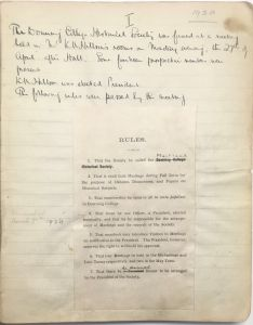 Maitland Historical Society foundation and rules, 27 April 1920 (DCCS/4/5/1/1)