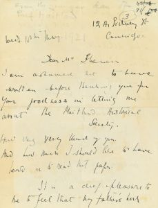 Letter from Fredegond Shove, 18 May 1921, re the naming of the Society in her father's memory (DCCS/4/5/3/1)