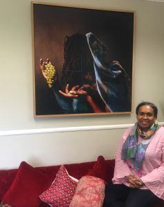 Fellow Dr Mónica Moreno-Figueroa with Rotimi Fani-Kayode's 'Grapes' (on loan to the College)