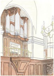 The original watercolour concept sketch by Kenneth Tickell