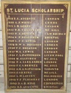 St Lucia Scholarship board including E. L. Auguste, its first recipient