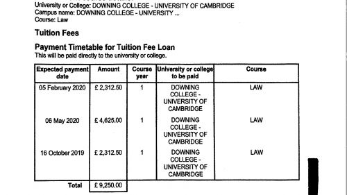 University or College Payment Advice