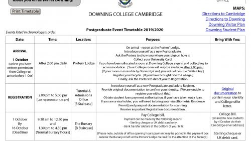 Postgraduate Event Timetable