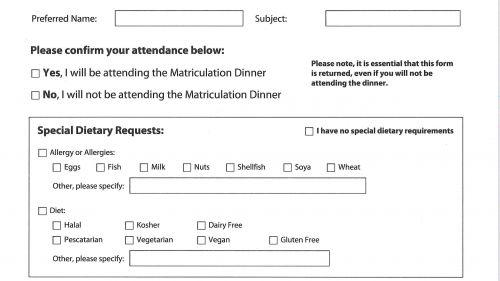 Postgraduate Matriculation Dinner Form