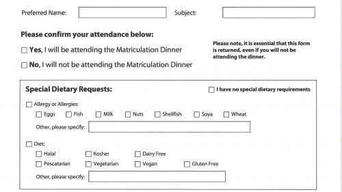 Postgraduate Matriculation Dinner Form