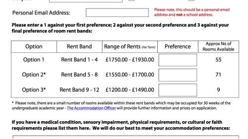 College Accommodation Form