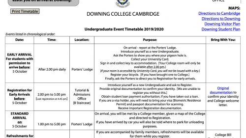 Undergraduate Event Timetable